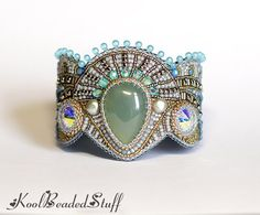 Reserved  Bead embroidered cuff  bracelet with by koolbeadedstuff, $167.00