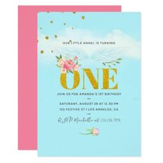 #Our Little Angel 1st Birthday Baby Girl Party Card - #birthday #invitations