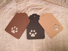 24 Paw Print Gift Tags - Animal Lovers - Birthday Party Gift Tags - Dogs Cats Wildlife - Fun Unique Tags - Brown Kraft Black