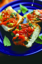 Tips and Recipes for Eating More Vegetables and Losing Weight! @Calie Owens Count  | Tomato & Basil Bruschetta-- yummy!!! | Secrets from The Nutrition Twins Veggie Cure!