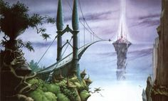 """""""Sanctuary"""" by Rodney Matthews, one of several that I loved in a calendar by him when I was about sixteen."""