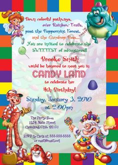 Personalized CANDYLAND Birthday or Shower Invitation Digital File PRINTABLE. $12.00, via Etsy.