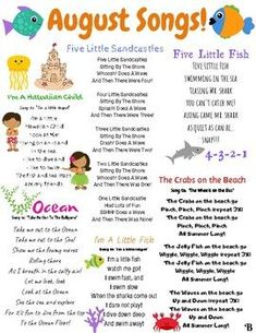 August songs and finger plays! This resource can be used for circle time in a daycare, preschool, Pre-K, or Kindergarten classroom. This is also a great resource to send home with children to sing the seasonal songs with their families.This song list compliments my Infant/Toddler Unit: Beach Days...