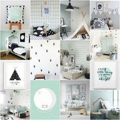 Om een zwart witte kamer wat meer kleur te geven kun je het combineren met een accentkleur zoals mintgroen. Ik verzamelde kinderkamer inspiratie voor je!