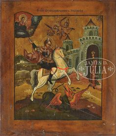 RUSSIAN ICON: SAINT GEORGE SLAYING THE DRAGON - by James D. Julia