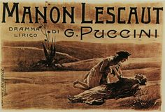 Manifesto by Vespasiano Bignami for the premiere of Manon Lescaut in 1893