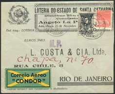 Brazil - 7/FE/1930 Airmail cover sent via Condor from Florianopolis to Rio, franked by Sc.1CL9 (RHM.K-11, Victor Konder), very fine quality, rare! Dealer Guillermo Jalil-Philatino Auction Starting Price: 75.00 US$ (app. 61 EUR)