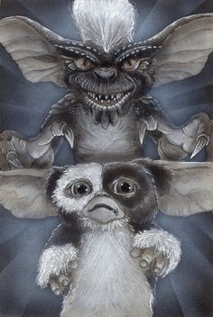 Gremlins by Devin Francisco Gizmo Tattoo, Disney Drawings, Art Drawings, Stripe Tattoo, 1980 Cartoons, Gremlins Gizmo, Sexy Black Art, Iconic Movie Posters, Satanic Art