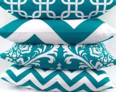 Turquoise Pillow cover 16x16 you pick fabric teal blue aqua geometric damask zigzag chevron chain throw cushion sham Premier Prints FREESHIP