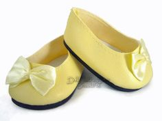 Yellow Ballet Flats Shoes W/ Bows for American Girl Doll Clothes Highest Quality
