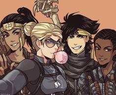 Mortal Kombat X - Kung Jin, Cassie Cage, Takeda Takahashi, Jacqui Briggs, by: tecchen on Tumblr