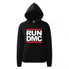 Run DMC Classic Logo Black Pull Over Sweatshirt Hoodie New Official Merch