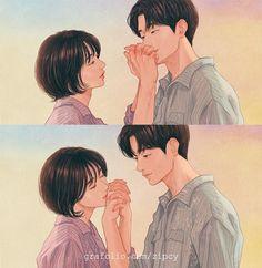 Coreana cria ilustrações que qualquer casal que esteja apaixonado entenderá – Fique Sabendo