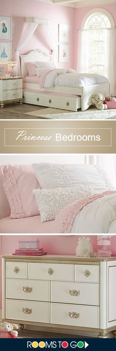 Dreamy bedrooms for your little one. A scalloped headboard features delicate lines and an ornate crown-inspired carving, while the classic silhouette will encourage sweet and stylish dreaming for years to come. Shop this room and more Princess bedrooms now!