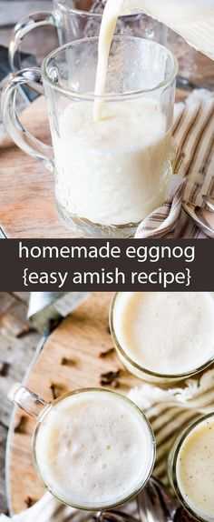 Why buy eggnog when you can make homemade eggnog in under 5 minutes? This easy Amish recipe is versatile. Sweeten and season to your liking. Another great homemade eggnog recipe with options for cooked and uncooked! Christmas Dishes, Christmas Drinks, Christmas Baking, Christmas Treats, Christmas Foods, Christmas Parties, Holiday Drinks, Christmas Desserts, Rustic Christmas