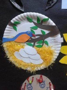Bird Nest Craft Children of all ages will enjoy one of our favorite spring crafts for kids- a sweet little nest and baby bird craft! Birds For Kids, Art For Kids, Bird Crafts Preschool, Kids Crafts, Holiday Homework, Thali Decoration Ideas, Bird Nest Craft, Creative Activities For Kids, Origami