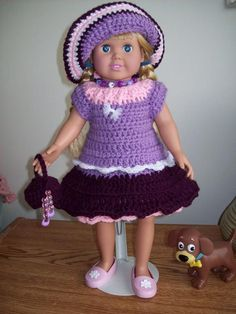 "Free crochet pattern for 18"" American Girl Doll dress, hat and purse. Crochetville.com"