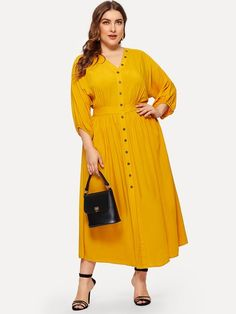 To find out about the Plus Buttoned Trim Elastic Cuff Dress at SHEIN, part of our latest Plus Size Dresses ready to shop online today! Plus Size Dresses, Plus Size Outfits, Dresses For Work, Wrap Dresses, Dresses Uk, Evening Dresses, V Neck Dress, Dress P, Dress Clothes