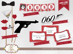 James Bond Party Printable set by PretaPapier on Etsy