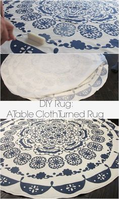 An easy way to turn a table cloth in to a rug: A DIY Anthropologie rug tutorial on dreambookdesign.com
