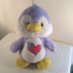 "2004 Cozy Heart PENGUIN CARE BEARS COUSINS Plush Stuffed Animal 11""  Purple #CareBears"