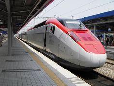 A high-speed train in Korea, called the HSR-350x or the Korean G-7