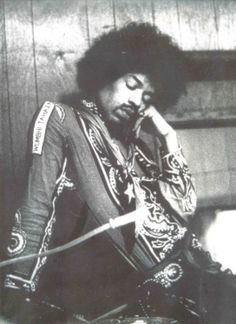 getting a needed rest...Jimi didn't like sleeping much, because his creative mind was always prompting him to try something new, something different, and also there were tons groupies and other famous musicians vying for his attention and to hang out with him.