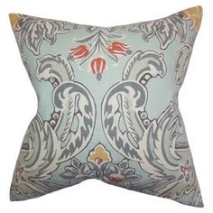"""A lovely touch for your sofa, bed, or chaise, this stylish pillow showcases a botanical motif and feather-down fill. Made in the USA.  Product: PillowConstruction Material: Cotton linen cover and feather-down fillColor: Light blue, gray, yellow, red and whiteFeatures:  Insert includedMade in the USAHidden zipper closure Reverses to same design Knife-edge finish  Dimensions: 18"""" x 18""""Cleaning and Care: Spot clean"""