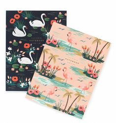 Birds of a Feather Set of two with gold accents- Thinking this is perfect to write notes in I'm obsessed with the flamingo one.