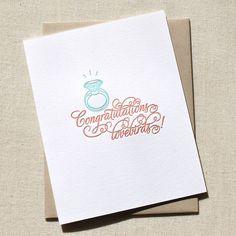 Congratulations Lovebirds Letterpress Engagement Card