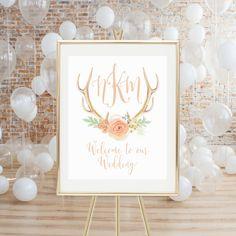 PRINTABLE WEDDING SIGN  Monogram Wedding Welcome by LuminousPrints