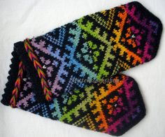 Hand knitted wool mittens. The rainbow color by mittenssocksshop