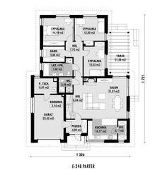 DOM.PL™ - Projekt domu ED E-248 CE - DOM ED2-55 - gotowy koszt budowy Pergola, Floor Plans, Houses, Outdoor Pergola, Arbors, Pergolas