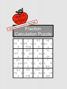 Cut the 16 puzzle pieces apart, then paste them into place so that each problem matches its answer. Students will practice addition, subtraction, multiplication, and division of positive fractions.  Use this activity as a homework assignment, review, in-class practice, math center, cooperative learning activity, quiz, or as an assignment choice for differentiating student work.   CCSS 5.NF CCSS 6.NS CCSS 7.NS