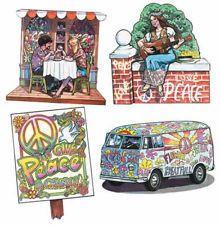 Set 4 60's Hippy Peace Theme Cutout