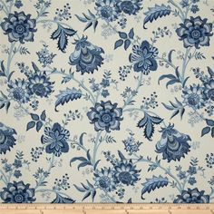 Waverly Island Gem Indigo from @fabricdotcom  Screen printed on (approx. 6.5 ounce) cotton duck, this versatile, medium weight fabric is perfect for window accents (draperies, valances, curtains and swags), accent pillows, bed skirts, duvet covers, slipcovers, upholstery and other home decor accents. Create handbags, tote bags, aprons and more. Colors include shades of blue on ivory.