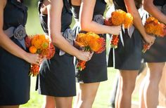 Gray orange and black is cute for a fall wedding if done tastefully!