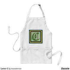 Letter C Adult Apron #Alphabet #Letter #Embossed #Art #Fashion #Apron
