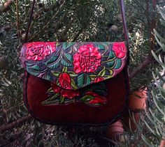 Women / Hip Bag, Purse / Leather / Rose /  Hand Carved and Tooled  /  Woman / Hand Made / Custom / Belt Bag
