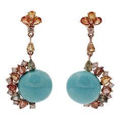Rose Gold Dangle Earrings, Vintage Earrings, Beaded Earrings, Art Deco Jewelry, Fine Jewelry, Women Jewelry, Month Gemstones, Turquoise Rose, Retro