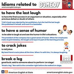 Comedy idioms - Repinned by Chesapeake College Adult Ed. We offer free classes on the Eastern Shore of MD to help you earn your GED - H.S. Diploma or Learn English (ESL) . For GED classes contact Danielle Thomas 410-829-6043 dthomas@chesapeake.edu For ESL classes contact Karen Luceti - 410-443-1163 Kluceti@chesapeake.edu . www.chesapeake.edu