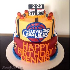 Cleveland Cavaliers Cake by Heavenly Sweet Bites in Mays Landing, NJ. Vanilla cake with fondant handmade decoration