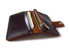 Wallet - Handmade Leather Mens Wallet card case - mini zip coin purse - brown leather flap Wallet