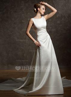 Forme Princesse Col rond Traîne watteau Satin Robe de mariée avec Plissé (002012755) - JJsHouse