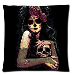 """Cotton and Polyester Two Sides Pillow cases with Day of the Dead Sugar Skull Girl pattern standard size 18"""" x 18"""" http://www.amazon.com/gp/product/B00YBRYI60"""