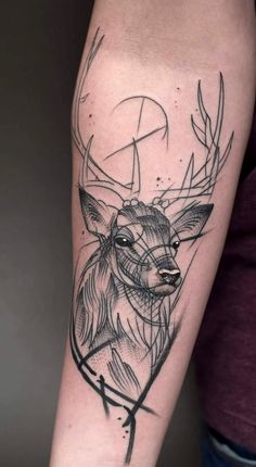 Stag tattoo by Jack Mangan at the Ink Factory Dublin Ireland Bull Tattoos, Body Art Tattoos, Tattoo Sleeve Designs, Sleeve Tattoos, Tattoos For Women Small, Tattoos For Guys, Cervo Tattoo, Hirsch Tattoos, Deer Hunting Tattoos