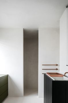 DB Gent is a minimalist interior located in Ghent, Belgium, designed by Frederic Kielemoes Minimalist Apartment, Minimalist Home Decor, Minimalist Bathroom, Minimalist Interior, Modern Bathroom, Copper Bathroom, Parisian Apartment, Apartment Layout, Minimalist Living