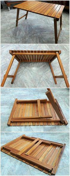 Folding Furniture, Pallet Furniture, Furniture Plans, Furniture Design, Folding Table Diy, Diy Pallet Projects, Woodworking Projects Diy, Pallet Ideas, Woodworking Wood