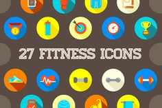 Great 27 Flat Vector Fitness Icons 2 @creativework247