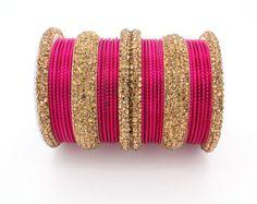30 Hot Pink Gold Diamante Indian Bangles Indian Churi Bollywood Kangan Mirror…